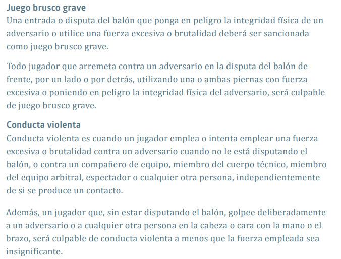 Reglamento FIFA-2017-2018 Aclaraciones Juego Brusco Grave y Conducta Violenta
