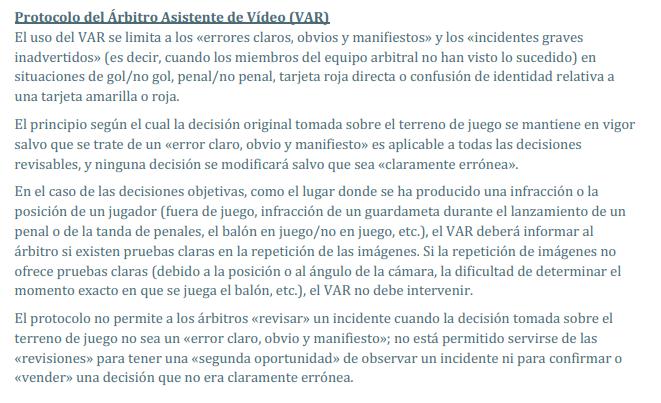 Captura de pantalla de la circular 17 de la IFAB sobre el VAR