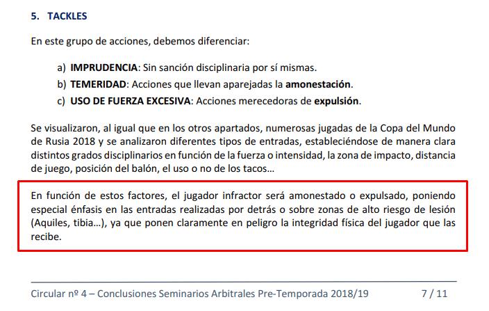 Circular nº 4 del CTA de la temporada 2018-2019 sobre el criterio de sanción en las entradas y disputas