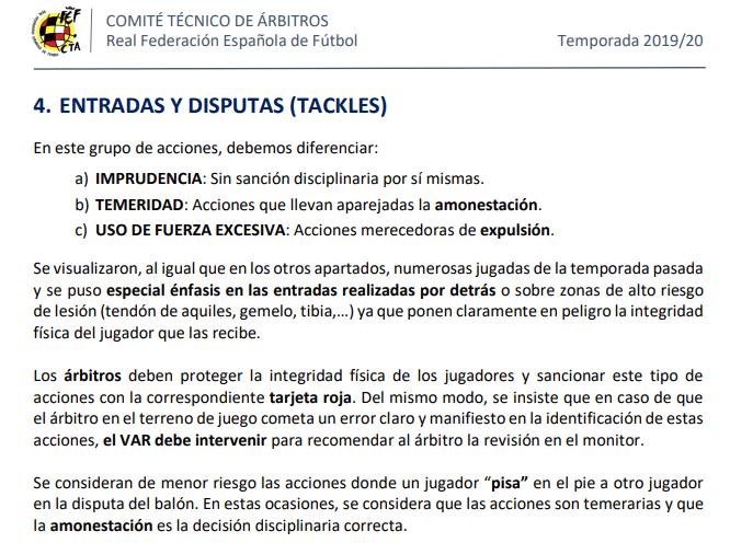 Circular nº 4 del CTA de la temporada 2019-2020 sobre el criterio de sanción en las entradas y disputas